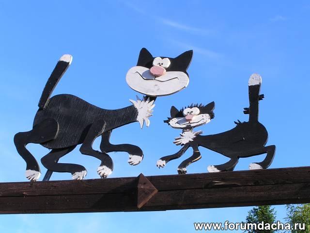 Поделки коты на заборе 82