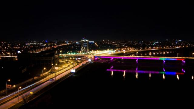 Мост на Новую Адыгею ночью. Иллюминация моста.
